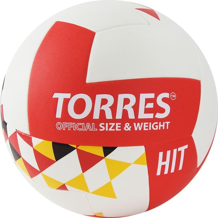 Мяч волейбольный Torres Hit арт. V32055 р.5, синт.кожа (ПУ), клееный, бут.кам, бело-красно-мультколор