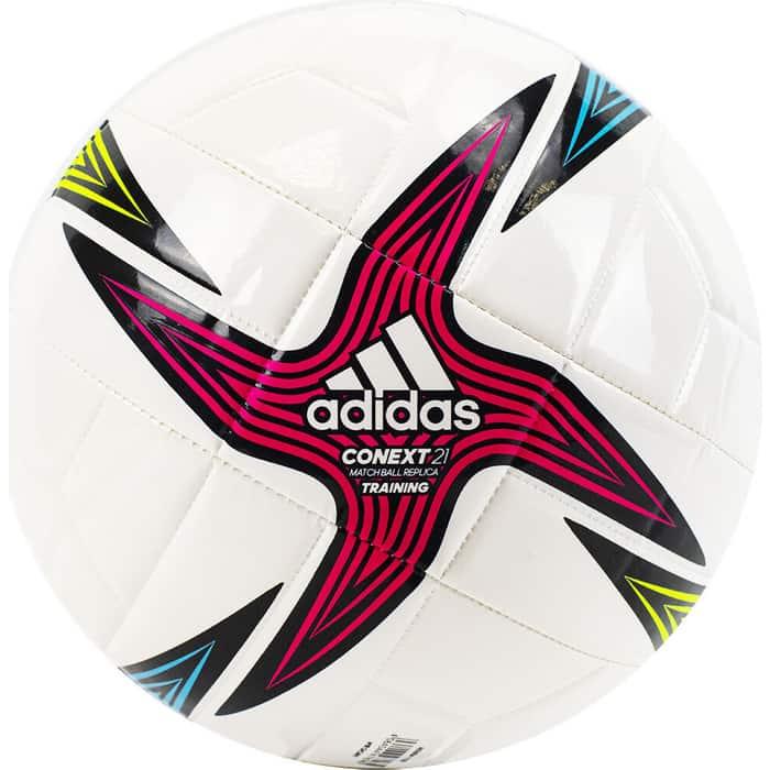 Мяч футбольный Adidas Conext 21 Training арт. GK3491, р.5, 8 панелей, гл.ТПУ, маш.сш, бело-мультикол футбольный мяч adidas conext 19 omb dn8633