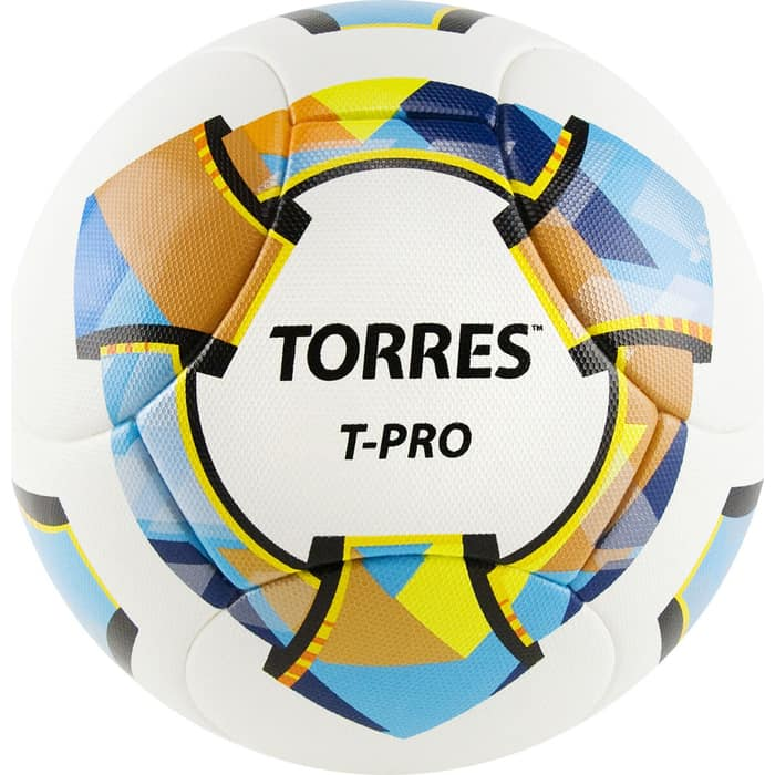 Мяч футбольный Torres T-Pro арт. F320995, р.5, 14 панел. PU-Microf, 4 подкл. сл, термосшив, бело-мульт мяч torres t pro футбольный арт f320995 размер 5