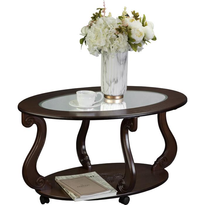 Стол журнальный Мебелик Овация (С) на колесах темно-коричневый