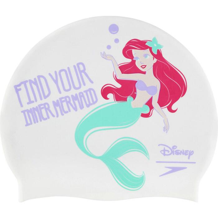 Шапочка для плавания детская Speedo Mermaid Slogan Print Jr, арт. 8-08386D566, белый/лиловый, силикон