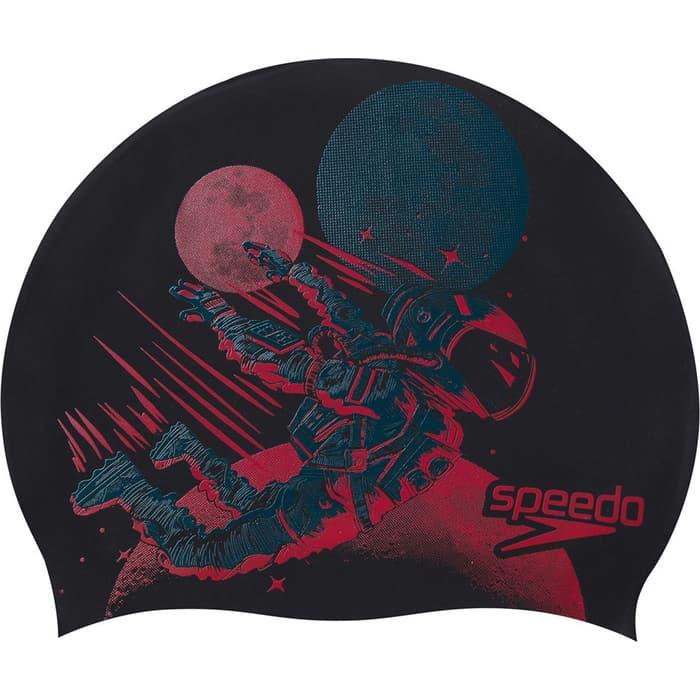 Шапочка для плавания детская Speedo Slogan Cap Jr, арт. 8-08386F287, черный/красный, силикон