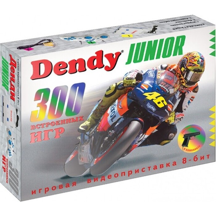 Фото - Игровая приставка Dendy Junior 300 игр + световой пистолет игровая приставка dendy junior 300 игр световой пистолет