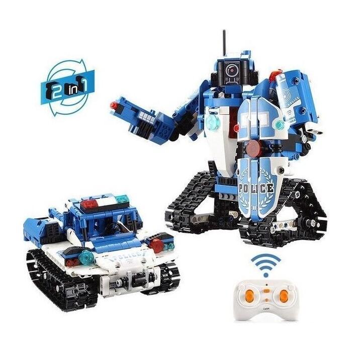 Конструктор Cada Technics радиоуправляемый CADA 2 в 1 полицейский робот-трансформер, 556 элементов - C51049W