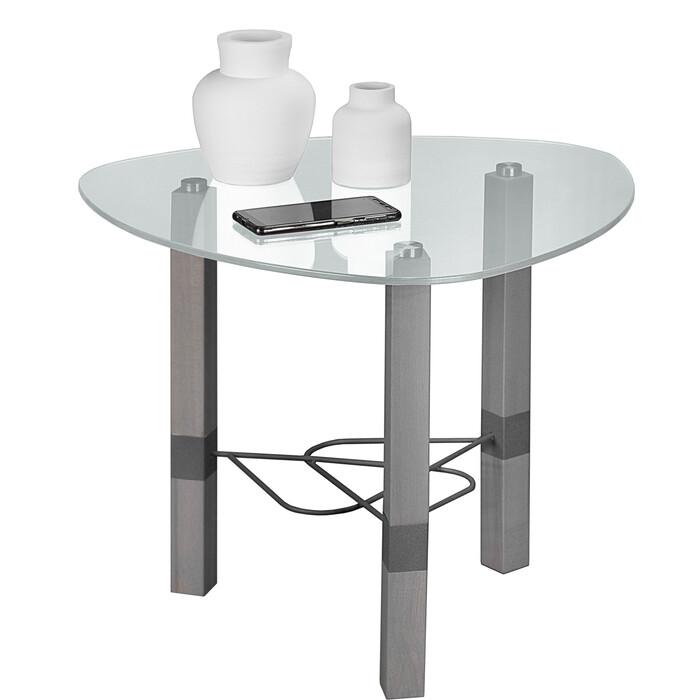 лиао серый Стол журнальный Мебелик Лючия 2103 серый бетон/серый/прозрачное