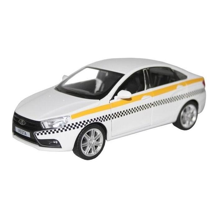 Машина Автопанорама LADA VESTA *ТАКСИ*, белый, масштаб 1:24, свет, звук, инерция - JB1251179
