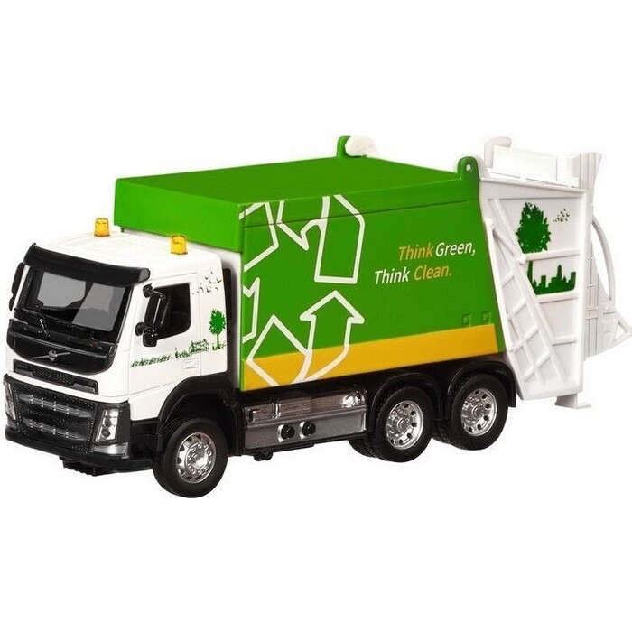 Машина Автопанорама Volvo мусоровоз, зеленый, масштаб 1:50, свет, звук - JB1251187