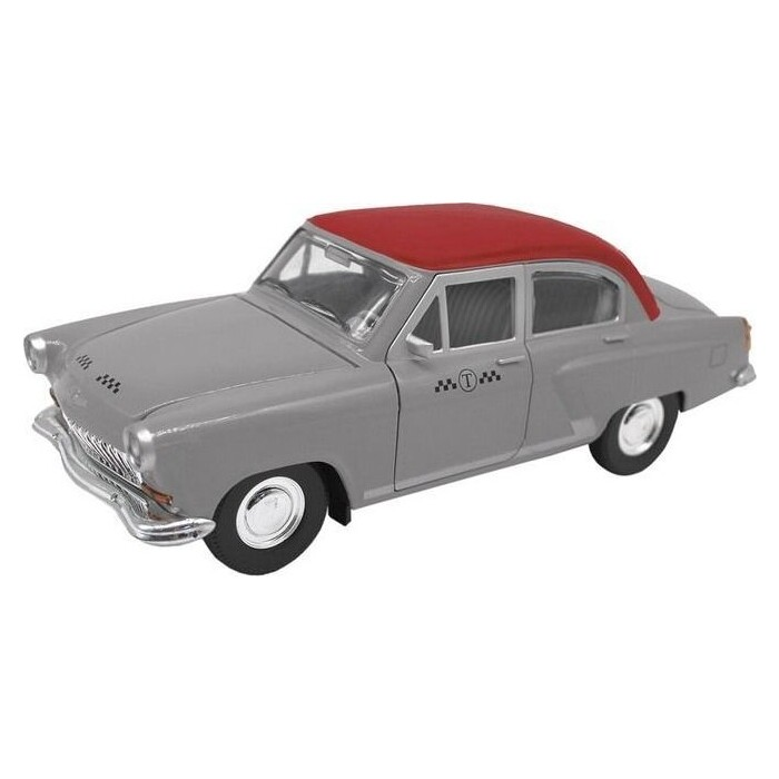 Машина Автопанорама Волга ГАЗ-21 Такси, серый, 1:24 свет, звук - JB1200213