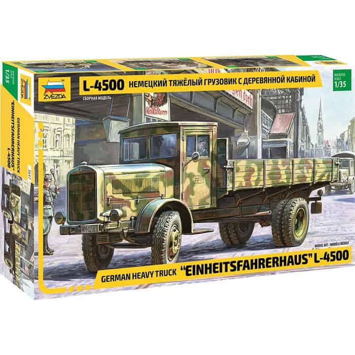 Сборная модель Звезда Немецкий тяжёлый грузовик с деревянной кабиной L-4500, 1/35 - ZV-3647