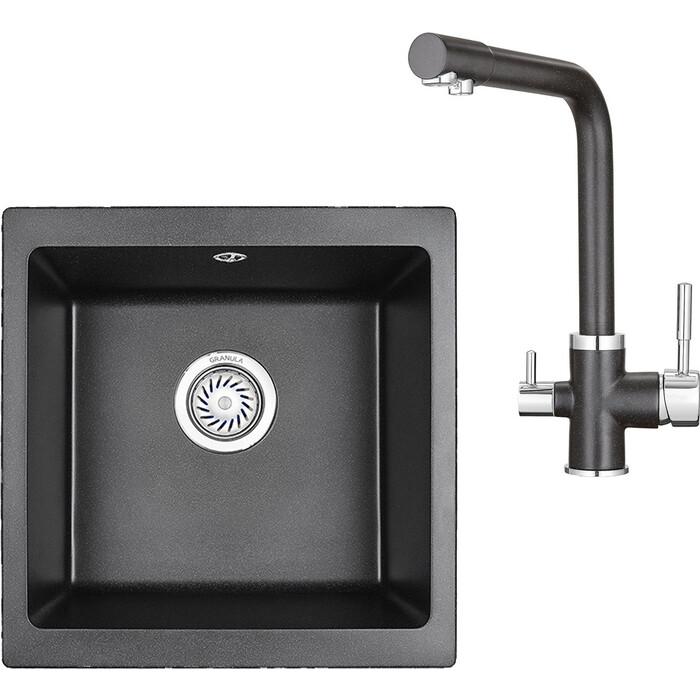 Кухонная мойка и смеситель Granula GR-4451, GR-2015 черный