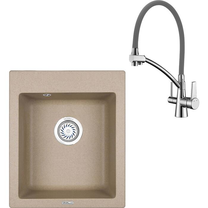 Кухонная мойка и смеситель Granula GR-4201 песок, Lemark Comfort LM3071C-Gray