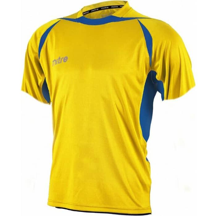 Футболка игровая Mitre ANGULAR T70002YLB-S, р. S, полиэстер, взросл, желто-синий