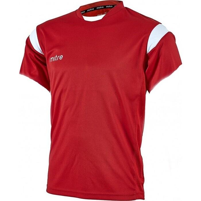 Футболка игровая Mitre MOTION T70001SWH-S р. S 100% полиэстер, красно-белый