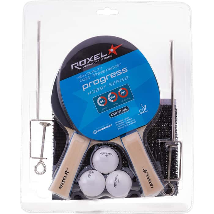 Набор для настольного тенниса Roxel Hobby Progress (2 ракетки + 3 мяча + сетка)