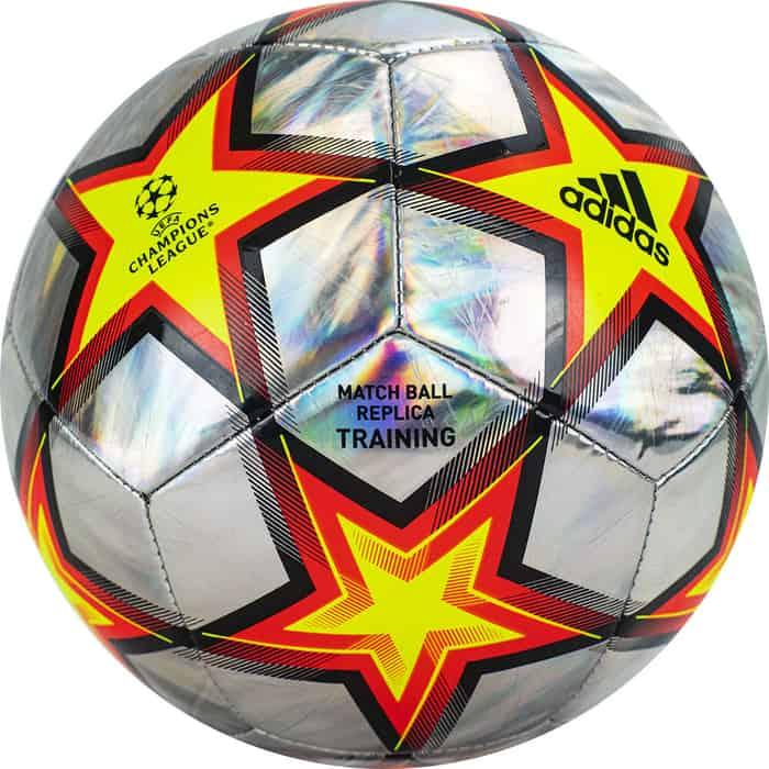 Мяч футбольный Adidas UCL Training Foil Ps арт. GU0205, р.5, 12 пан., ТПУ, маш.сш., серебристо-желто-красный