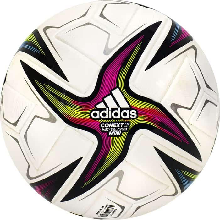 Мяч футбольный сувенирный Adidas Conext 21 Mini, арт. GK3487, р.1, ТПУ, 6 пан, термосш, бело-желто-красно-сине-зеленый футбольный мяч adidas conext 19 omb dn8633