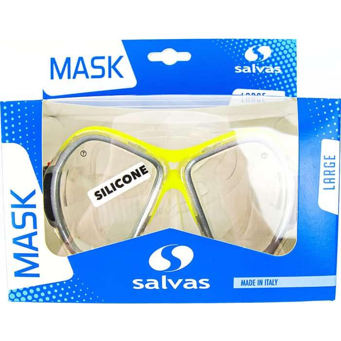 Маска для плавания Salvas Phoenix Mask, арт. CA520S2GYSTH, зак.стекло, силикон, р. Senior, сереб/жёлт маска для плавания salvas geo sr mask арт ca175s1rysth закален стекло силикон р senior красный