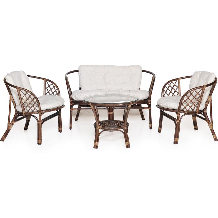 Набор мебели с подушкой Garden story Багамы диван + 2 кресла + стол каркас коричневый, подушки бежевые)