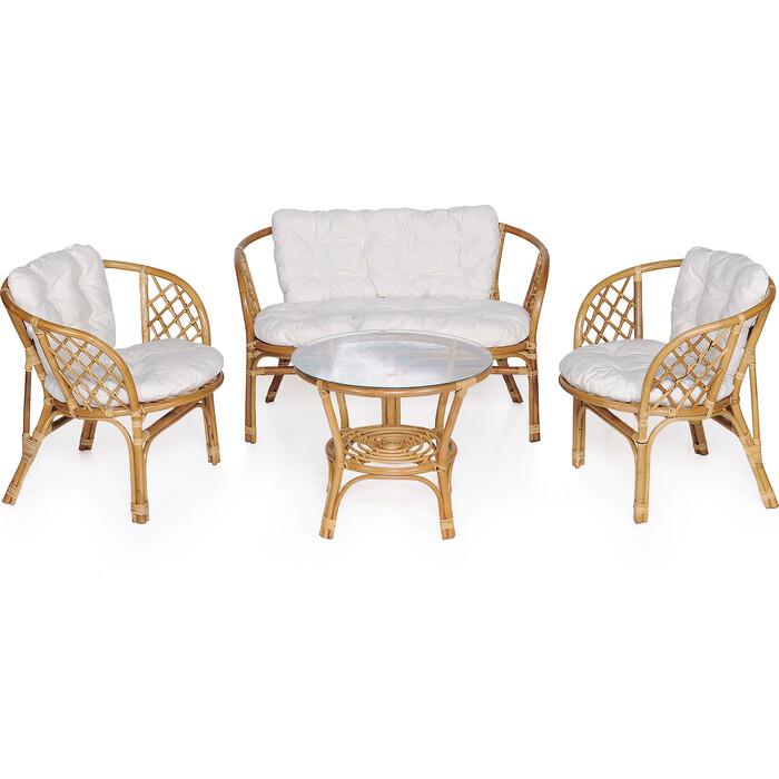 Набор мебели с подушкой Garden story Багамы диван + 2 кресла + стол каркас медовый, подушки бежевые
