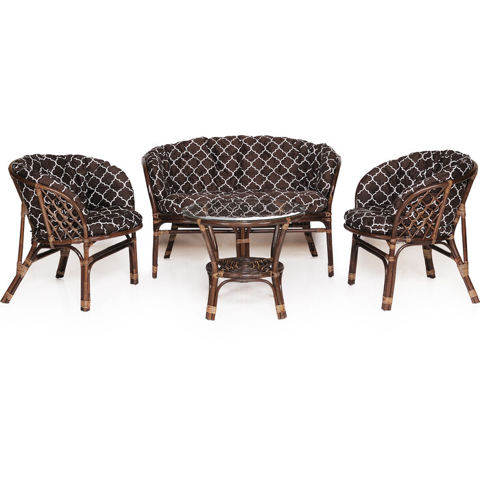 Набор мебели с подушкой Garden story Багамы Премиум диван + 2 кресла + стол каркас коричневый, подушки коричнневые