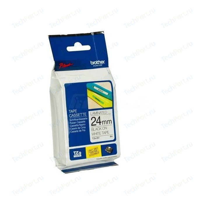 Лента для печати наклеек Brother Лента 24мм черный на белом для PT-2xxx, PT-3xxx, PT-5xxx, PT-9xxx (TZE251)