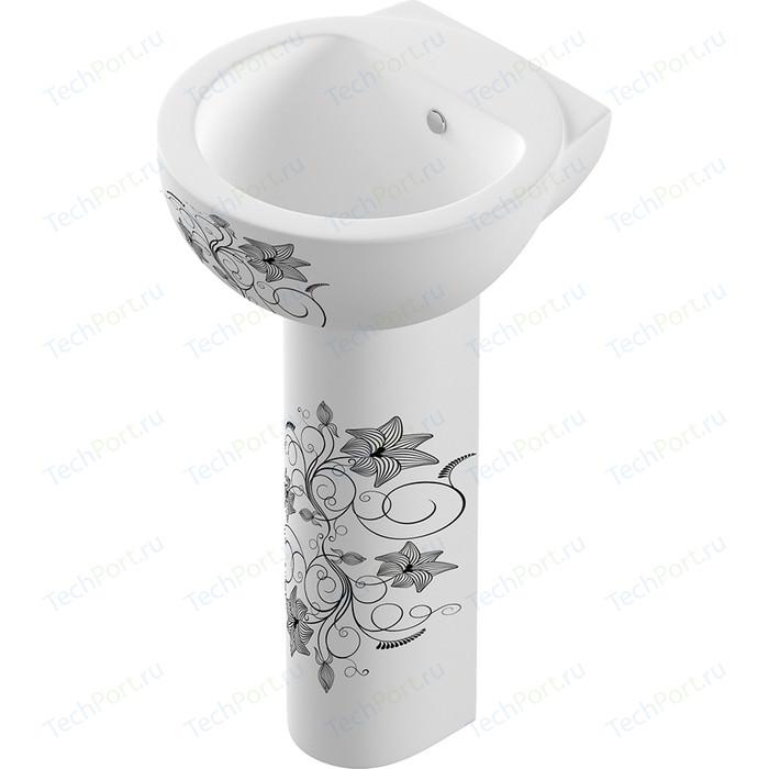 Раковина Sanita luxe Art FLora 49.3х46.9 белый с рисунком (ARTSLWB10)