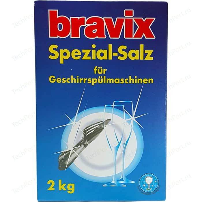 Соль для посудомоечных машин (ПММ) Bravix 2 кг, специальная, всех типов ПММ