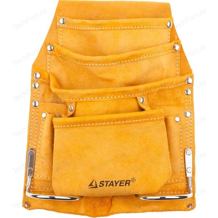Сумка поясная для инструментов Stayer кожаная 8 карманов 2 скобы Master (38505)