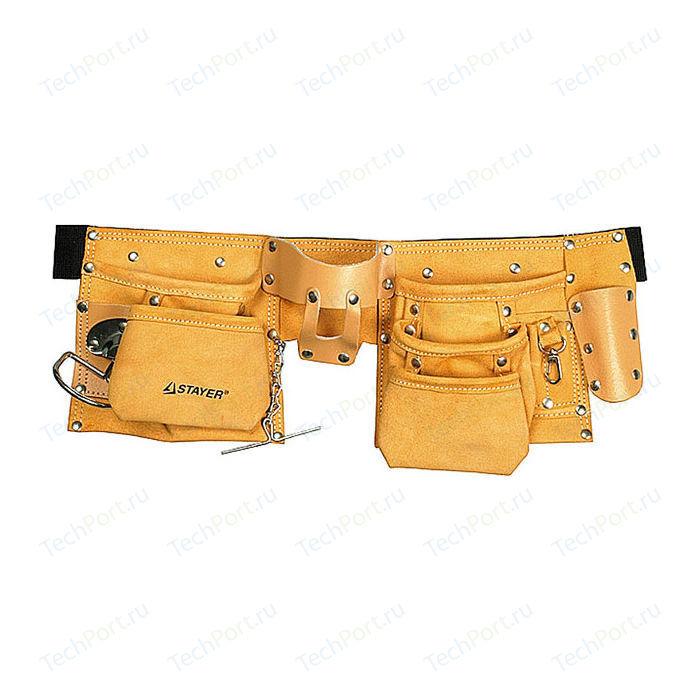 Пояс для инструментов Stayer 10 карманов 3 подвески кожаный Master (38512)