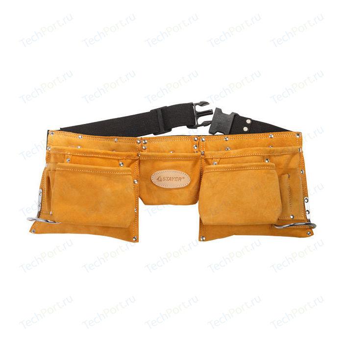 Пояс Stayer Professional для инструментов кожаный 11 карманов 2 скобы (38520)