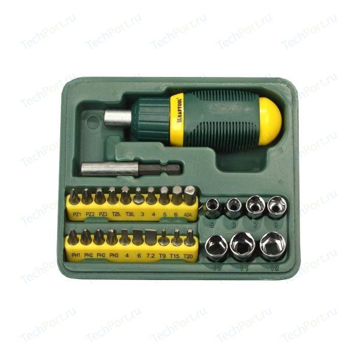 Набор Kraftool отвертка реверсивная с битами и торцевыми головками 29 предметов (25556-H29) отвертка реверсивная kraftool 26143 h18 с битами 18 предметов