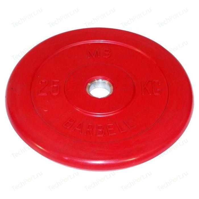 Диск обрезиненный MB Barbell 51 мм. 25 кг. красный Стандарт диск обрезиненный mb barbell 31 мм 25 кг красный стандарт