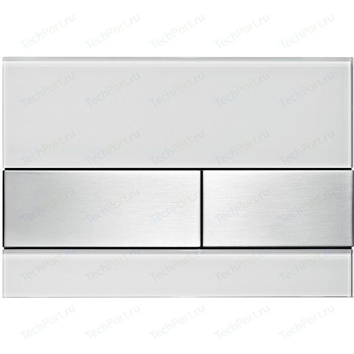 Панель смыва TECE Square стекло белое, клавиши нержавеющая сталь (9240801)