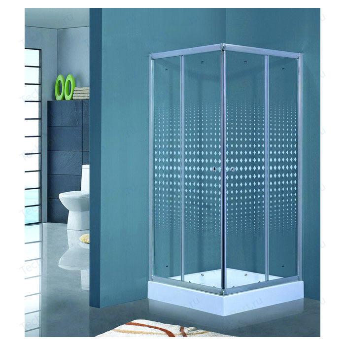 Душевой уголок Timo Viva Lux 100х100 прозрачный с рисунком Romb (TL-1102 R)