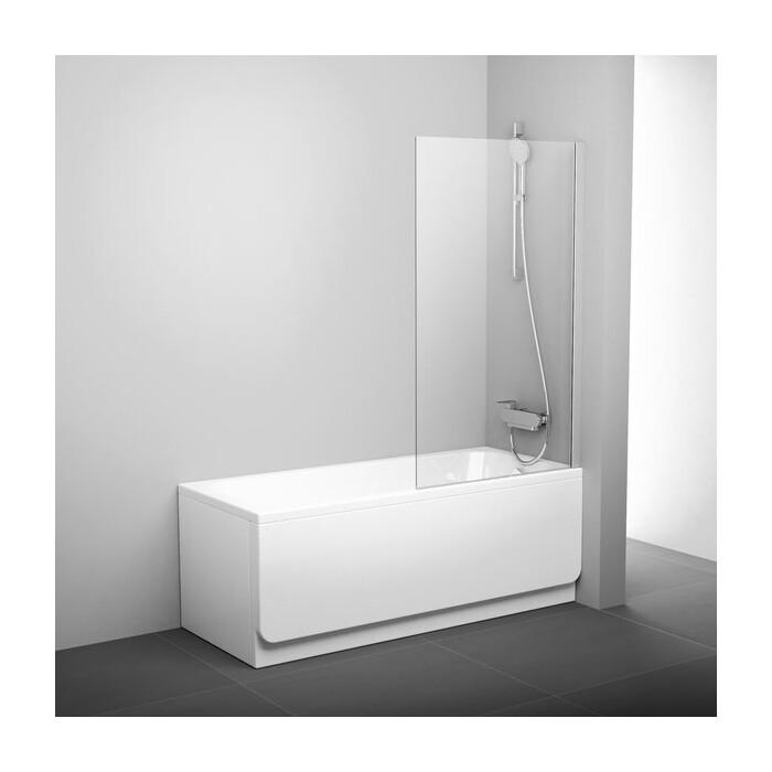 Шторка на ванну Ravak Pivot PVS1-80 прозрачная, сатин (79840U00Z1)