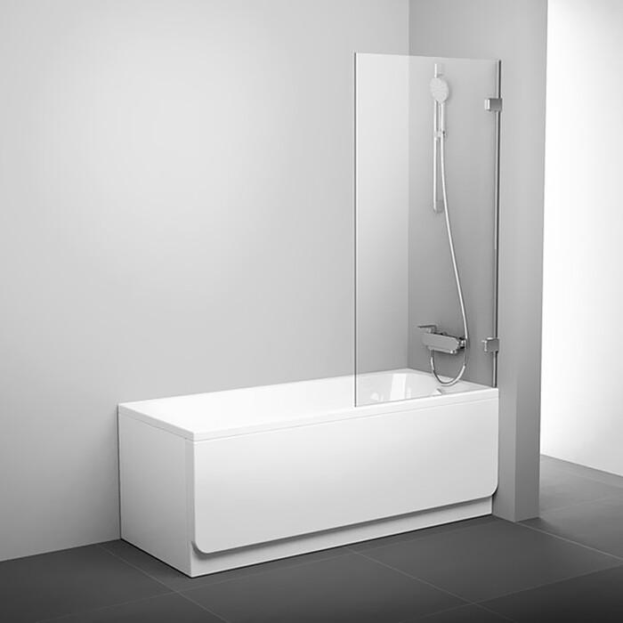 Шторка на ванну Ravak Brilliant BVS1-80 B SET прозрачная, хром (7U840A00Z1, D01000A070)