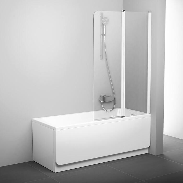 Шторка на ванну Ravak Chrome CVS2-100 R прозрачная, белый, правая (7QRA0100Z1)