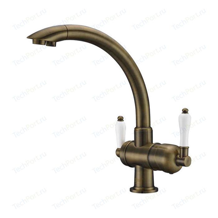 Смеситель для кухни ZorG Clean Water под фильтр, бронза (ZR 327 yf antique)