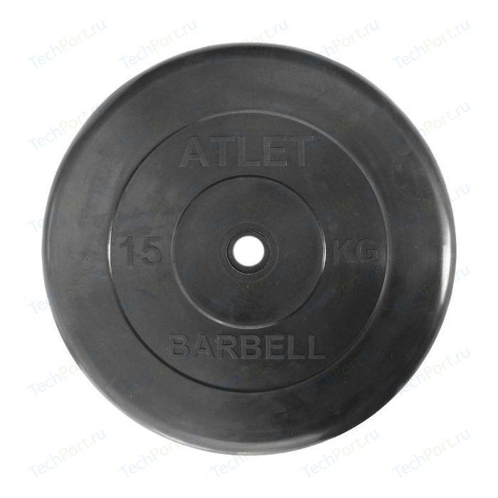 Фото - Диск обрезиненный Atlet 26 мм. 15 кг. черный диск обрезиненный atlet 31 мм 20 кг черный