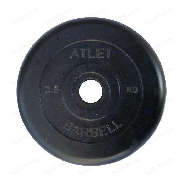 Фото - Диск обрезиненный Atlet 26 мм. 2.5 кг. черный диск обрезиненный atlet 31 мм 20 кг черный