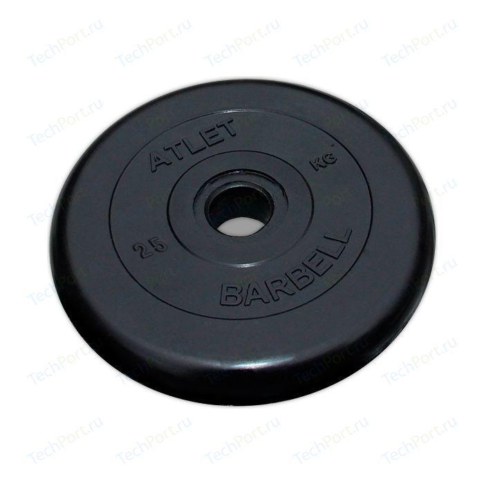 Диск обрезиненный Atlet 26 мм. 25 кг. черный