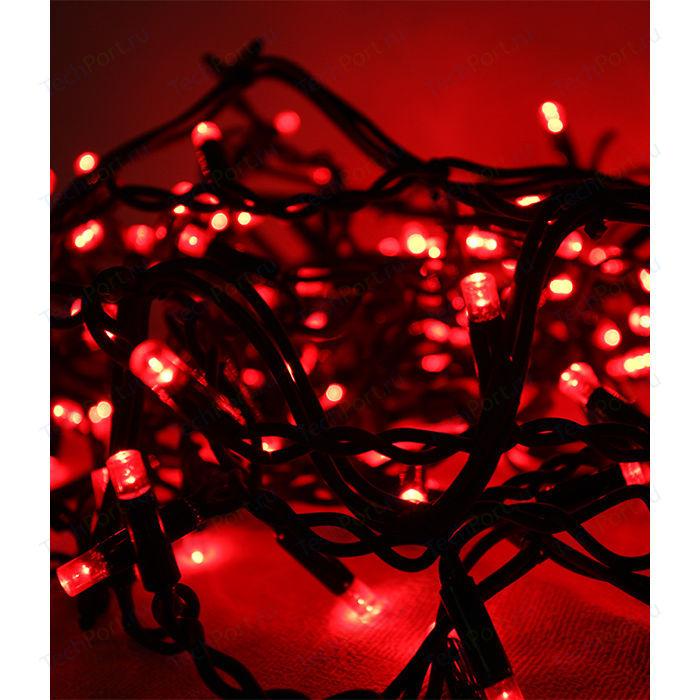 Гирлянда Light Светодиодная нить 10 м красная 220V чёрный провод (мерцание 100 процентов) гирлянда light светодиодная нить 10 м белая 220v чёрный провод мерцание 100 процентов