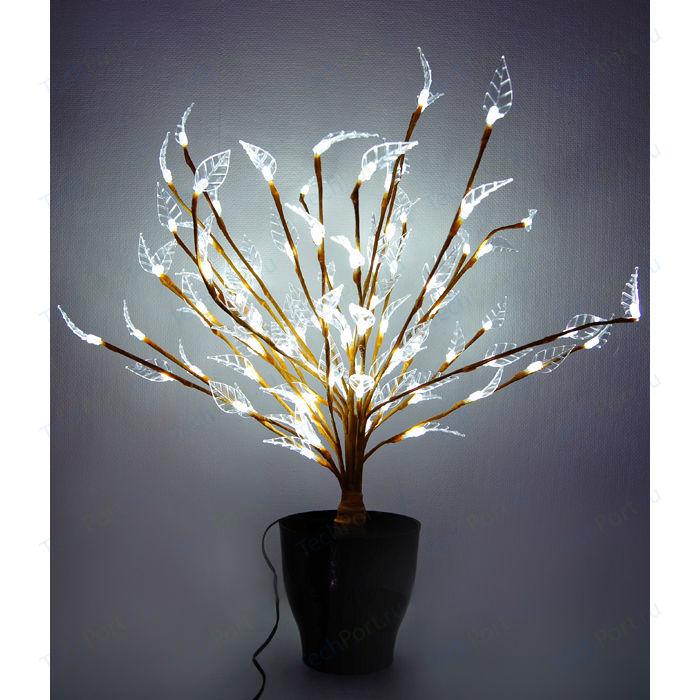 Светодиодная композиция Light Цветок в горшке листья белый 60 см, 94 led, провод