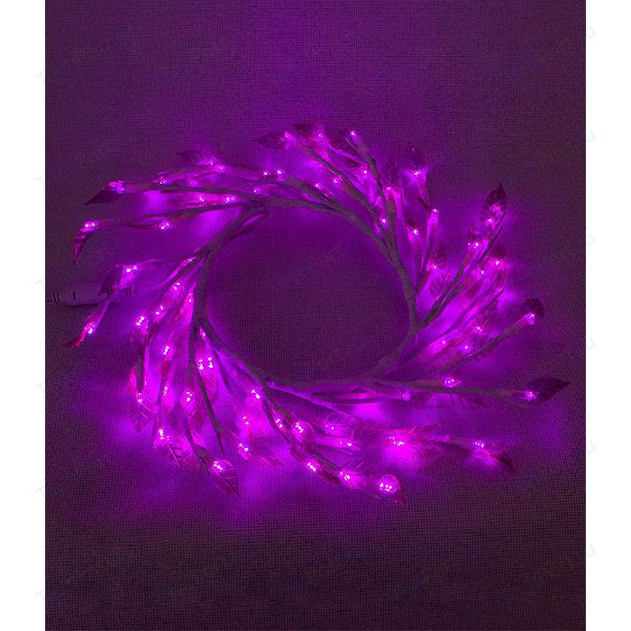 Светодиодная композиция Light Венок с прозрачными листьями фиолетовый 50 см