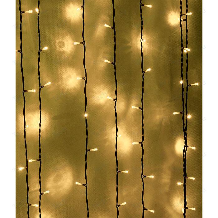 Light Светодиодный занавес тепл. белый 1x9 чёрный PVC провод