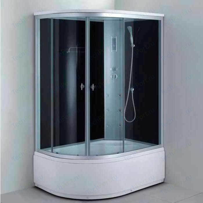 Душевая кабина Aqualux MODO 130х85х215 правая, тонированное стекло, заднее стекло темное (AQ-4073GFR-Bl)