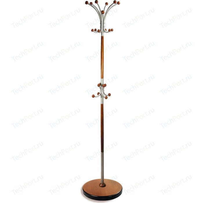 Вешалка напольная Мебелик Д 1 металлик/средне-коричневый