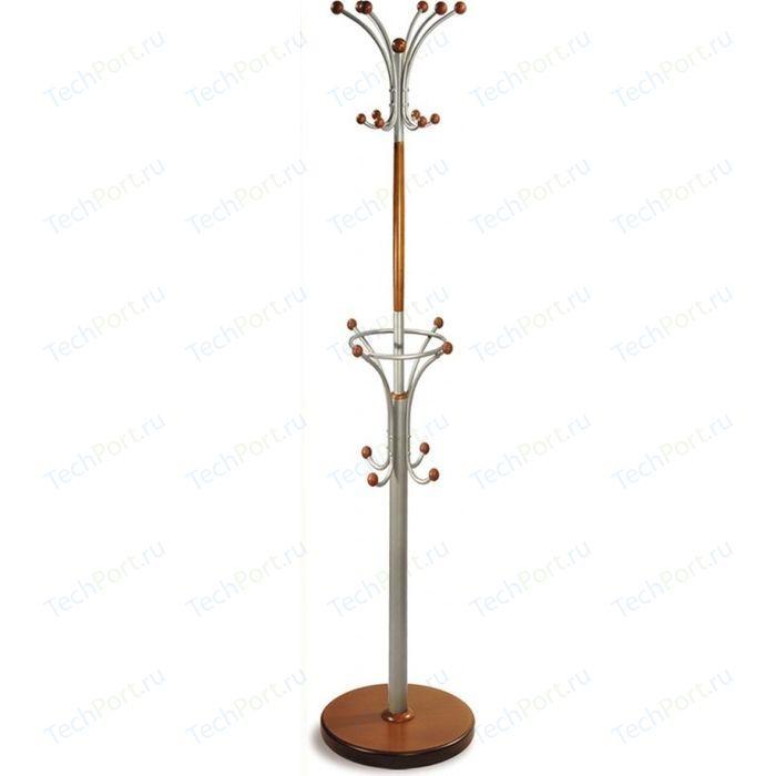 Вешалка напольная Мебелик Д 2 металлик/средне-коричневый