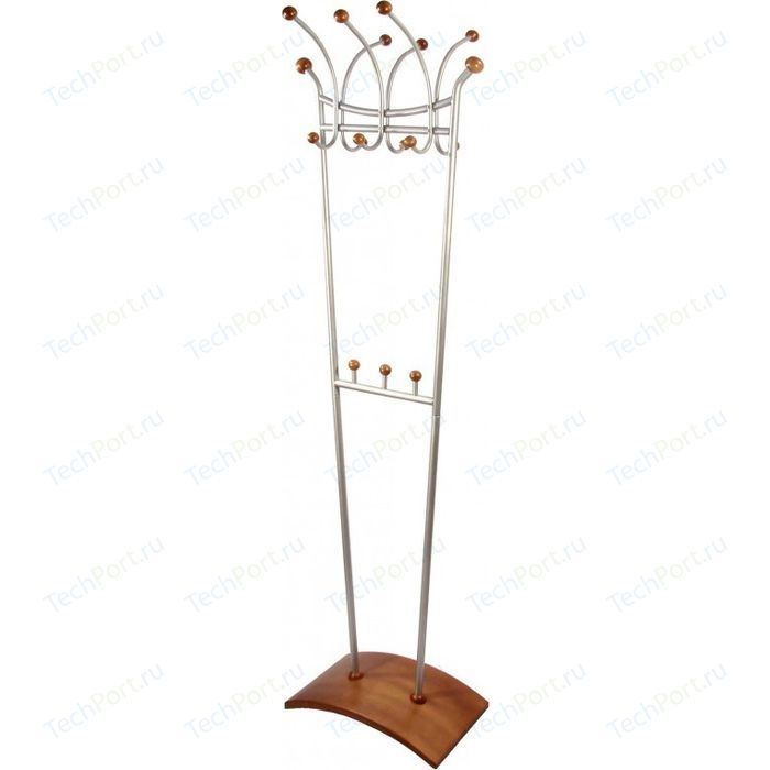 Вешалка напольная Мебелик Д 6 металлик/средне-коричневый