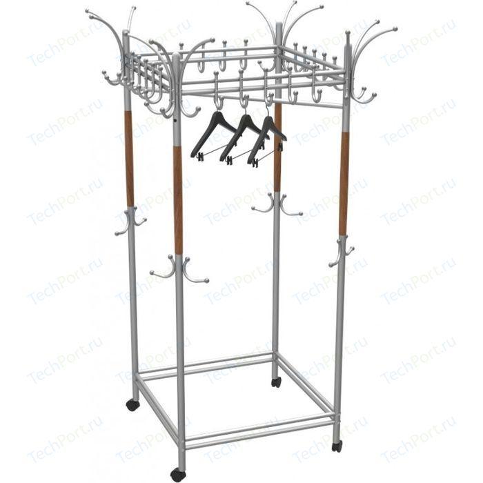 Вешалка гардеробная на колесах Мебелик Галилео 216 металлик /средне-коричневый
